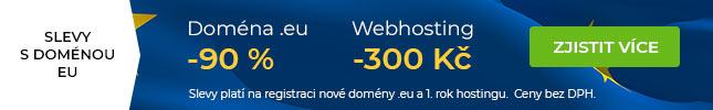 Registrace domény .eu za skvělých 25 Kč bez DPH na jeden rok.